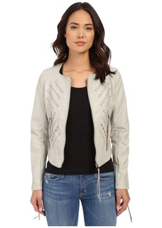 Blank NYC Vegan Leather Crop Embroidered Jacket