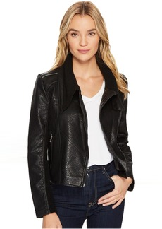 Vegan Leather Crop Jacket in Box Of Rocks