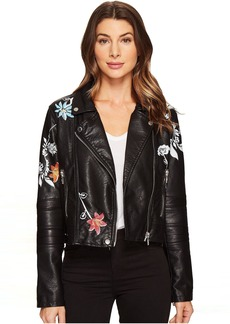 Blank Vegan Leather Graphic Moto Jacket in Secret Keeper