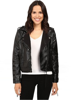Blank NYC Vegan Leather Lace-Up Jacket in Sweet Talk