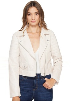 Vegan Leather Moto Jacket in Gum Drop