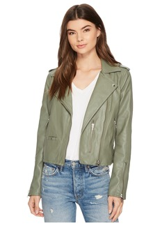 Blank Vegan Leather Moto Jacket in Matcha