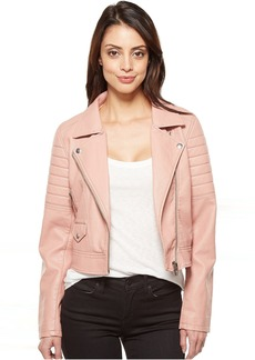 Vegan Leather Moto Jacket in Pretty In Pink