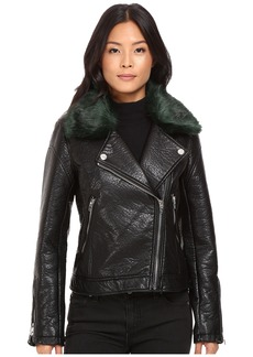 Blank NYC Vegan Leather Removable Green Faux Fur Collar in Speaking Terms