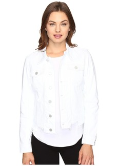 Blank NYC White Crop Denim Cut Off Detail Jacket in Whisper White