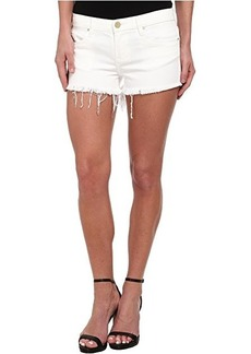Blank NYC White Denim Short - Raw Cut Off Finish in White Lines
