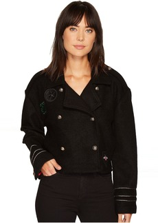 Blank Wool Crop Military Jacket in Riot Control