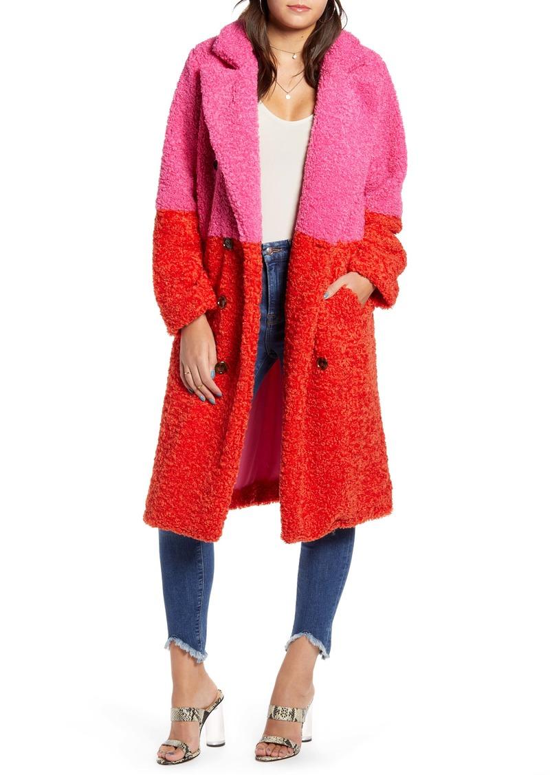 BLANKNYC Arrival Colorblock Faux Fur Coat