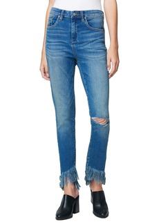 BLANKNYC Asymmetrical Fray Hem Skinny Jeans (S.O.S.)