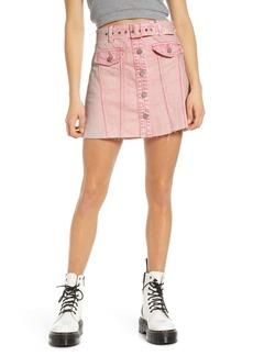 BLANKNYC Belted Denim A-Line Miniskirt (Tutti Frutti)