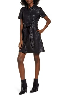 BLANKNYC Belted Faux Leather Shirtdress