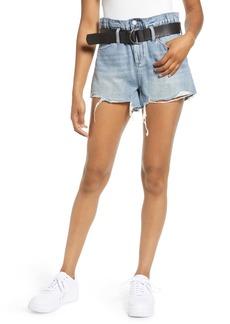BLANKNYC Belted High Waist Denim Shorts (Risk Taker)