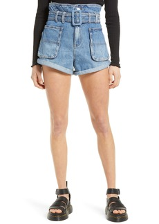 BLANKNYC Belted Paperbag Waist Cutoff Denim Shorts (Overboard)