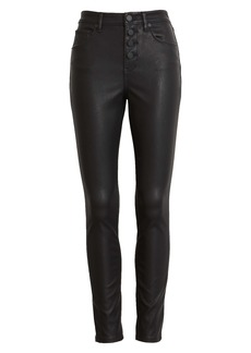 BLANKNYC Button Front Faux Leather Skinny Jeans (Daddy Soda)