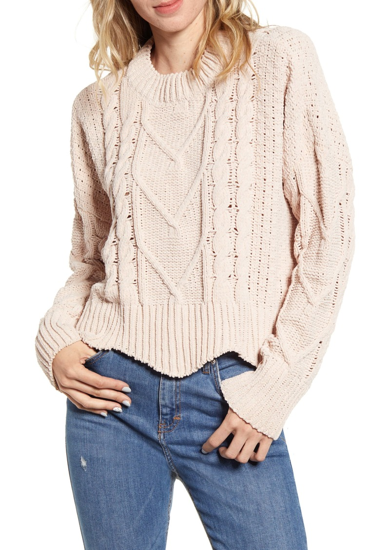 BLANKNYC Cable Knit Crewneck Sweater