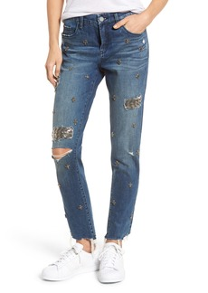 BLANKNYC Charm School Jeweled Girlfriend Jeans