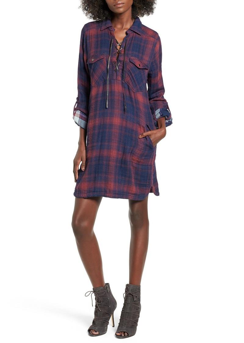 BLANKNYC 'Check Mate' Plaid Lace-Up Shirtdress