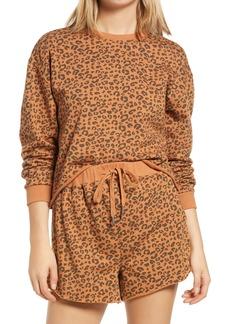 BLANKNYC Cheetah Print Crop Sweatshirt