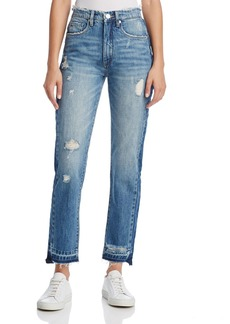 BLANKNYC Contrast Panel Straight-Leg Jeans in Hot Thoughts Blue