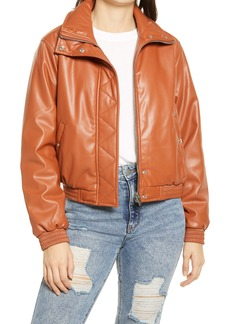 BLANKNYC Crop Faux Leather Bomber Jacket