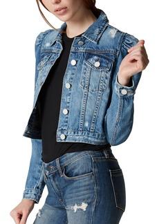BLANKNYC Crop Puff Shoulder Denim Jacket