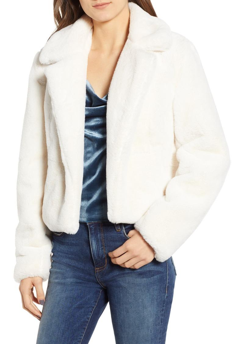 BLANKNYC Crop Faux Fur Jacket