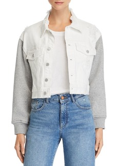 BLANKNYC Cropped Mixed-Media Denim Jacket