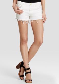 BLANKNYC Cutoff Shorts in White Lines