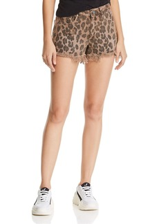 BLANKNYC Distressed Leopard Print Denim Shorts