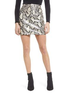 BLANKNYC Double Yoke Snake Print Faux Leather Skirt