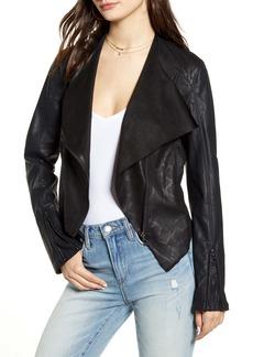 BLANKNYC Drape Front Faux Snakeskin Jacket