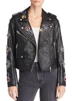 BLANKNYC Embellished Faux Leather Moto Jacket