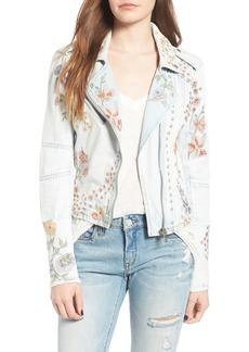 BLANKNYC Embroidered Denim Moto Jacket