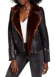 BLANKNYC Faux Fur & Faux Leather Moto Jacket