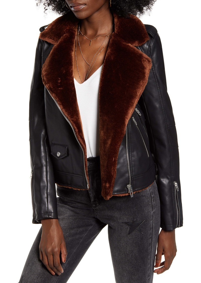 BLANKNYC Faux Fur & Faux Leather Moto Jacket