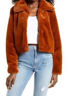 BLANKNYC Faux Fur Crop Jacket