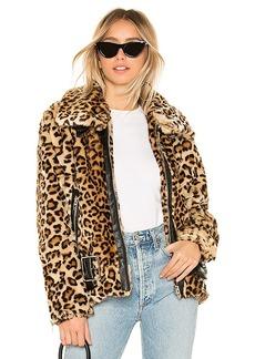 BLANKNYC Faux Fur Leopard Biker Jacket