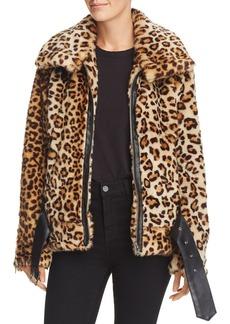 BLANKNYC Faux-Fur Leopard Print Moto Jacket