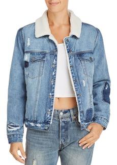 BLANKNYC Faux Fur-Lined Distressed Denim Jacket