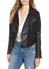 BLANKNYC Faux Leather & Canvas Moto Jacket