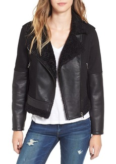 BLANKNYC Faux Leather & Denim Moto Jacket with Faux Shearling Lining
