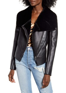 BLANKNYC Faux Leather & Faux Fur Moto Jacket