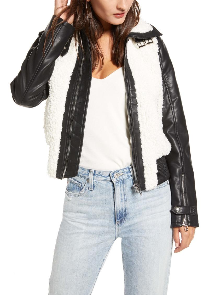BLANKNYC Faux Leather & Fleece Bomber Jacket