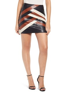 BLANKNYC Faux Leather Colorblock Miniskirt
