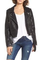 BLANKNYC Faux Leather Crop Moto Jacket