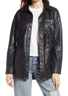 BLANKNYC Faux Leather Fringe Shirt Jacket