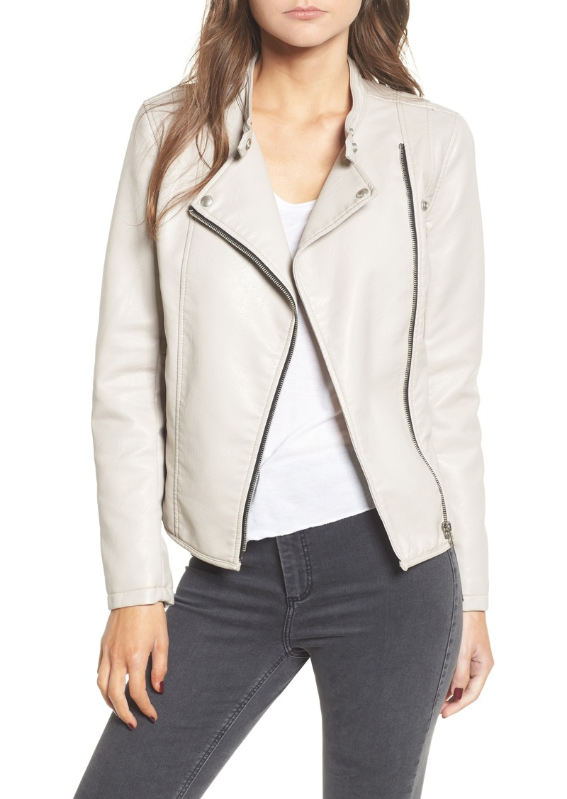 BLANKNYC Faux Leather Ruffle Hem Moto Jacket