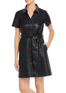 BLANKNYC Faux Leather Shirt Dress