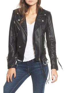 BLANKNYC Faux Leather Tassel Moto Jacket