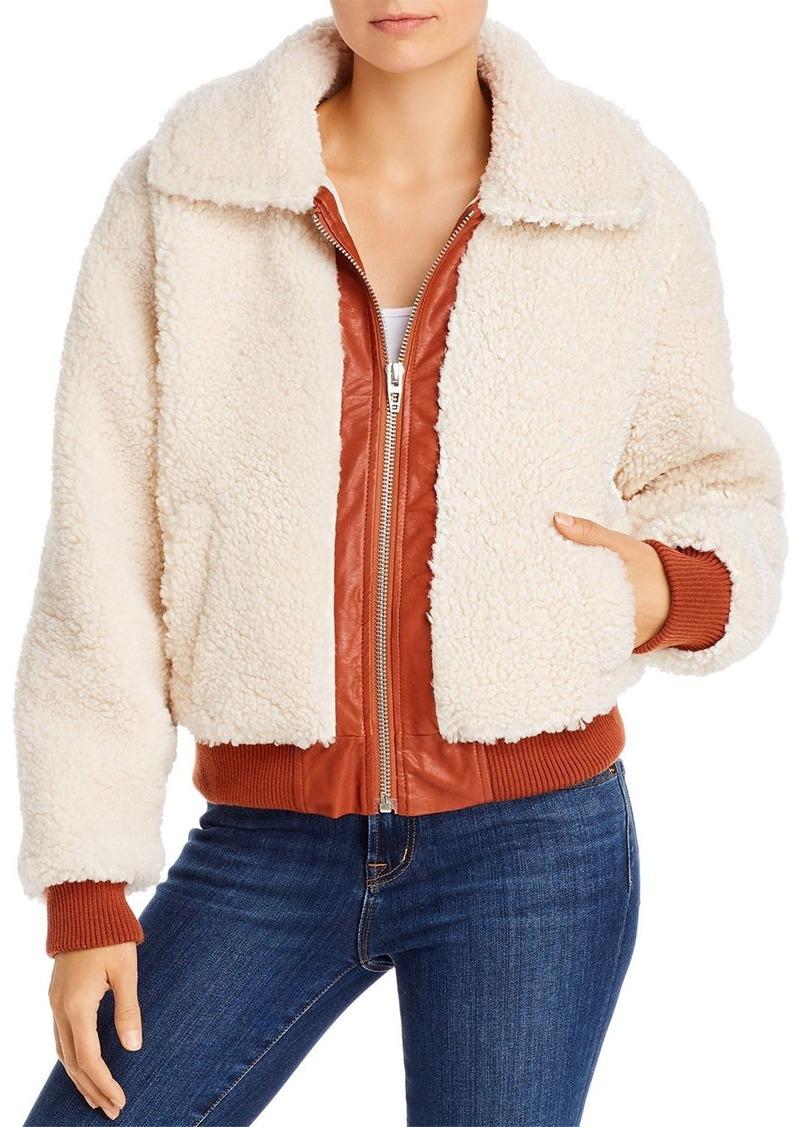BLANKNYC Faux Leather-Trimmed Sherpa Jacket